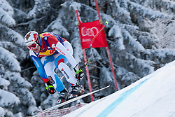 KITZBUHEL AUSTRIA. 22-01-2011. Ambrosi Hoffmann (SUI) speeds down the course competing in the 71st Hahnenkamm downhill race part of  Audi FIS World Cup races in Kitzbuhel Austria.  Mandatory credit: Mitchell Gunn