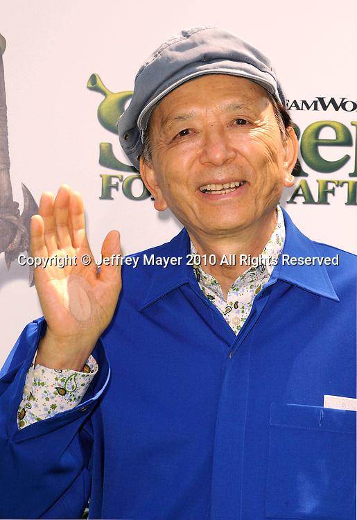 """UNIVERSAL CITY, CA. - May 16: James Hong arrives at the """"Shrek Forever After"""" Los Angeles Premiere at Gibson Amphitheatre on May 16, 2010 in Universal City, California."""