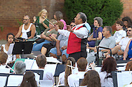 Middletown, New York -The SUNY Orange Symphonic Band performs at a  concert celebrating the 125th anniversary of the founding of the City of Middletown at Festival Square on June 19, 2013. ©Tom Bushey / The Image Works