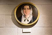 Portrait oil painting of Hepzibah Evans nee Adams, born Farrington Gurney, Radstock museum, Somerset, England, UK