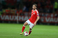Joe Allen of Wales in action.  Wales v Moldova , FIFA World Cup qualifier at the Cardiff city Stadium in Cardiff on Monday 5th Sept 2016. pic by Andrew Orchard, Andrew Orchard sports photography