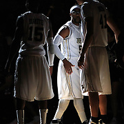 Marcus Jordan (5) of the University of Central Florida Knights mens basketball team is introduced against the West Florida Argonauts in the first home game of the 2010 season at the UCF Arena on November 12, 2010 in Orlando, Florida. UCF won the game 115-61. (AP Photo/Alex Menendez)