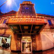 Kansas City Plaza Lights and Plaza Medical Building fisheye lens photo.