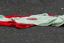© Licensed to London News Pictures. 04/01/2020. London, UK. Blood stains on the blanket within the crime scene on Charteris Road, near the junction with Lennox Road, Finsbury Park in north London. Police launch a murder investigation following a death of a man in his 30s on Friday 3 January 2020. Police were called at approximately 6.50pm to reports of a man stabbed and the he was pronounced dead at the scene just after 7.30pm.  Photo credit: Dinendra Haria/LNP
