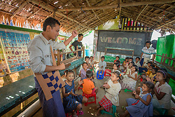 Asia, Myanmar, children in outdoor classroom run by EduNet, Partners in Asia,