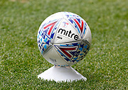 Detail of the match ball resting on a cone instead of a ball boy during EFL Sky Bet Championship between Millwall and Derby County at The Den Stadium, Saturday, June 20, 2020, in London, United Kingdom. (ESPA-Images/Image of Sport)