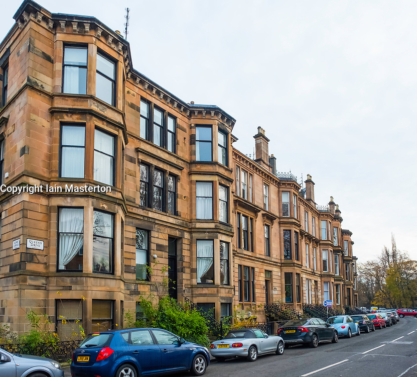 Beautiful apartment buildings on Queens Drive in Queens Park district of Glasgow, Scotland, United Kingdom