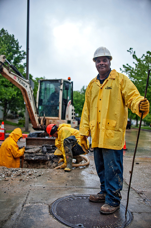 Photo by Matt Roth<br /> <br /> Chester Green is a supervisor with the Baltimore City Department of Public Works Bureau of Water and Wastewater. He is photographed at the site of a water main break at the intersection of Yellowwood Ave. and Springfield Dr. in Baltimore, Maryland on Tuesday, May 07, 2013.