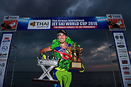 PATTAYA, THAILAND - DECEMBER 09: Mark Gomez of USA and Rickter on the podium with the King's Cup after the Royal Trophy presentation for the Pro Freestyle second run at the Thai Airways International Jet Ski World Cup 2018, Jomtien Beach, Pattaya, Thailand on December 09, 2018. <br /> .<br /> .<br /> .<br /> (Photo by: Naratip Golf Srisupab/SEALs Sports Images)<br /> .<br /> Any image use must include a mandatory credit line adjacent to the content which should read: Naratip Golf Srisupab/SEALs Sports Images