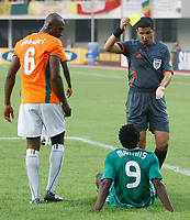 Photo: Steve Bond/Richard Lane Photography.<br />Nigeria v Ivory Coast. Africa Cup of Nations. 21/01/2008. Obafemi Martins (on ground) is booked for diving