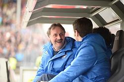 Football: Germany, 2. Bundesliga, 15.02.2014<br />Peter Neururer (Coach VfL Bochum) lucky<br />© pixathlon