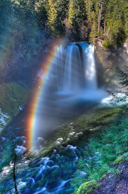 Koosah Falls with amazing rainbow