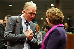 EU's High Representative for Foreign Affairs and Security Policy Catherine Ashton(R) talks with Danish Minister for Foreign Affairs Villy Sovndal prior to an EU Foreign Ministers meeting on Jan. 31, 2013. The Foreign Ministers Meeting will discuss the situation in the EU s southern neighbourhood, in particular in Syria and Egypt, and will prepare the forthcoming European Council debate on the Arab Spring. , January 31, 2013. Photo by Imago / i-Images..UK ONLY