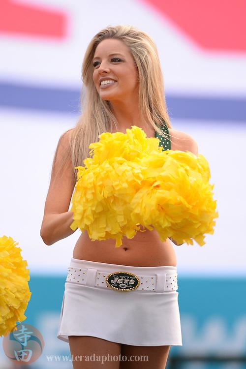 January 25, 2014; Honolulu, HI, USA; New York Jets cheerleader Laura performs during the 2014 Pro Bowl Ohana Day at Aloha Stadium.