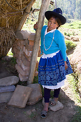 Girl (13 years) in traditional dress, Vicos, Peru, South America  MR
