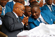 DURBAN - 4 December 2016 - South Africa's President Jacob Zuma talks to Professor Caesar Nongqunga, the leader of the 4.5 million strong Twelve Apostles Church in Christ at a thanksgiving service in Durban's Moses Mabhida Stadium. Nongqunga later urged church members to deposit their savings into the same bank that had earlier in the year given Zuma a loan to repay the the government for controversial non-security upgrades to his personal residence in Nkandla. Picture: Allied Picture Press/APP