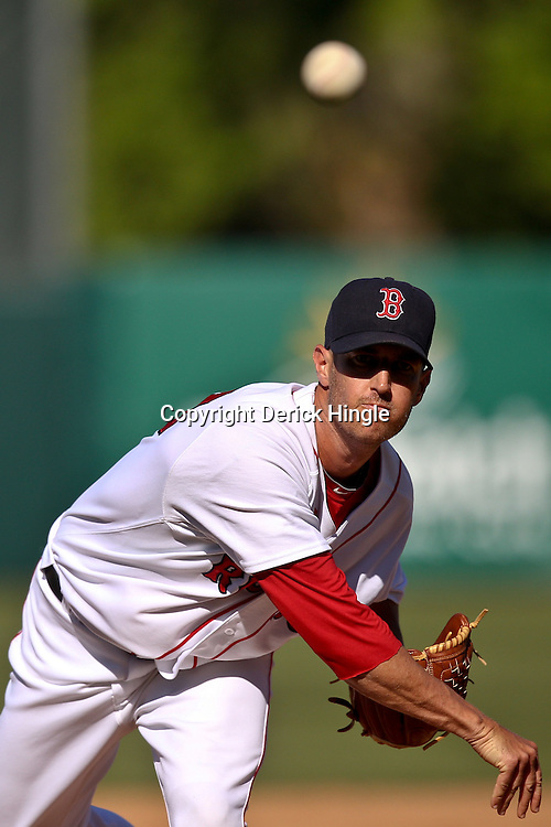 March 12, 2011; Fort Myers, FL, USA; Boston Red Sox pitcher Matt Fox (73)during a spring training exhibition game  against the Florida Marlins at City of Palms Park. The Red Sox defeated the Marlins 9-2.  Mandatory Credit: Derick E. Hingle
