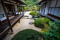 """Raikyu-jiTemple Garden at Tenchu-zan Ankoku Raikyu-ji- When the governor of the area died he was succeeded to the post by his sonKobori Enshu who is considered to be one of the founders of the Japanese tea ceremony as well as his fame as a garden designer. Kobori lived at the temple, is said to have built the present zen garden.  It was designed in the """"Horai style"""" to emphasize spiritual peace and harmony in its composition and in the consciousness of the viewer using nearby Mount Atago in the background to form ashakkei""""borrowed scenery"""". The garden is also known as Tsurukame Garden because of the two stone islands in the garden named Crane and Tortoise.  Although it was completed in 1609 the abbots of the temple have maintained the garden in its original form in honour of its designer. This Japanese rock garden called karesansui, which uses no water and instead uses stones and sand to express a natural landscape, has been designated a national Place of Scenic Beauty. Raikyuji Temple Garden has even been awarded a star in the Michelin Green Guide Japan."""