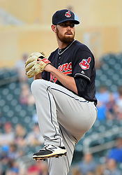May 31, 2018 - Minneapolis, MN, U.S. - MINNEAPOLIS, MN - MAY 31: Cleveland Indians Pitcher Shane Bieber (57) delivers a pitch during a MLB game between the Minnesota Twins and Cleveland Indians on May 31, 2018 at Target Field in Minneapolis, MN. The Indians defeated the Twins 9-8.(Photo by Nick Wosika/Icon Sportswire) (Credit Image: © Nick Wosika/Icon SMI via ZUMA Press)