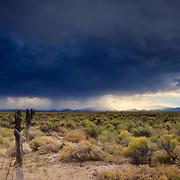An approaching thunderstorm darkens the desert sky near Great Sand Dunes National Park, Alamosa, Colorado.