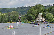 Henley, GREAT BRITAIN, 2012 Princess Grace Challenge Cup, W4X, Hollandia Roeiclub, NED (Bucks), and Centro Nazionale Di Canotaggio Piediluco, ITA (berks) , pull away from the Island Saturday  10:31:10  30/06/2012    [Mandatory Credit, Intersport Images]. ...Rowing Courses, Henley Reach, Henley, ENGLAND . HRR