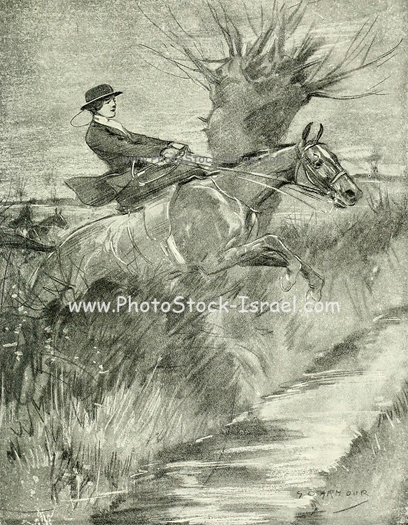 Lady Huntress - Brighter in Britain the charms of each daughter, nor Dreads the bright charmer to follow the fox from the book  The sport of our ancestors; being a collection of prose and verse setting forth the sport of fox-hunting as they knew it; by baron Willoughby de Broke, Richard Greville Verney, 1869-1923; and illustrated by Armour, G. D. (George Denholm),  Published in London by Constable and co. ltd. in 1921