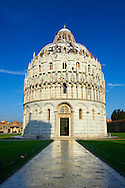 Bapistry of Pisa, Italy . The Pisa Baptistery of St. John is a Roman Catholic ecclesiastical building in Pisa, Italy. Construction started in 1152 to replace an older baptistery, and when it was completed in 1363, it became the second building, in chronological order, in the Piazza dei Miracoli, near the Duomo di Pisa . The largest baptistery in Italy, it is 54.86 m high, with a diameter of 34.13 m. The Pisa Baptistery is an example of the transition from the Romanesque style to the Gothic style: the lower section is in the Romanesque style, with rounded arches, while the upper sections are in the Gothic style, with pointed arches. The Baptistery is constructed of marble, as is common in Italian architecture.