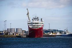 Oil and gas field support vessel in Peterhead bay, Peterhead, Aberdeenshire, Scotland, UK.<br /> Photo: Ed Maynard<br /> 07976 239803<br /> www.edmaynard.com