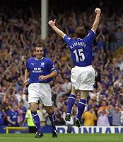 Photo: Greig Cowie.<br /> 23/08/2003.<br /> FA Barclaycard Premiership. Everton v Fulham. Goodison Park.<br /> Gary Naysmith celebrates his goal