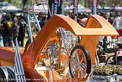 BF8 Invited builder Dalton Walker's Split Image Kustoms Pre-unit Triumph in matching custom hotrod at the Born Free 8 Motorcycle Show on Sunday. Silverado, CA, USA. June 26, 2016.  Photography ©2016 Michael Lichter.