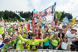 Primoz Roglic of Team Lotto NL Jumbo, Stage winner and winner in Overall classification with his fans after the trophy ceremony after the 5th Time Trial Stage of 25th Tour de Slovenie 2018 cycling race between Trebnje and Novo mesto (25,5 km), on June 17, 2018 in  Slovenia. Photo by Vid Ponikvar / Sportida