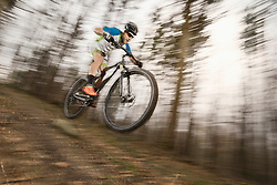 Mountain biker performing stunt in forest