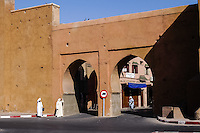 Morocco, Marrakesh. One of the gates in the wall surrounding the medina in Marrakesh.