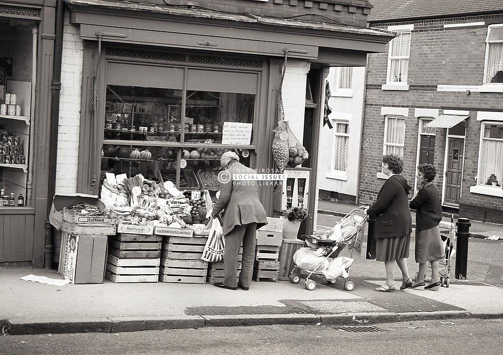 Corner shop, Forest Fields, inner-city Nottingham, UK 1985