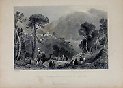 Village of Brumhanna, in Mount Lebanon . from Volume 2 of Syria, the Holy Land, Asia Minor, &c. by Carne, John, 1789-1844; Illustrated by Bartlett, W. H. (William Henry), 1809-1854, and Allom, Thomas, 1804-1872 Published in London in 1837