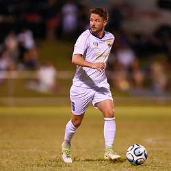 BRISBANE, AUSTRALIA - FEBRUARY 10: James Coutts of United in action during the NPL Queensland Senior Mens Round 2 match between Gold Coast United and Brisbane Roar Youth at Station Reserve on February 10, 2018 in Brisbane, Australia. (Photo by Football Click / Patrick Kearney)