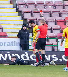 Partick Thistle's Thomas O'Hare brings down Dunfermline's Greg Kiltie for their penalty, then getting a red card from Ref Mike Roncone. Dunfermline 5 v 1 Partick Thistle, Scottish Championship game played 30/11/2019 at Dunfermline's home ground, East End Park.