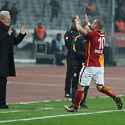 Galatasaray's Sneijder (R) during their Turkish Super League soccer derby match Besiktas between Galatasaray at the Ataturk Olimpiyat stadium in Istanbul Turkey on Monday, 14 December 2015. Photo by Aykut AKICI/TURKPIX