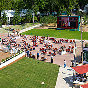 PARIS, FRANCE June 10. A general view of the deck chair area in front of the giant outdoor screen in the grounds of Roland Garros at the 2021 French Open Tennis Tournament at Roland Garros on June 10th 2021 in Paris, France. (Photo by Tim Clayton/Corbis via Getty Images)
