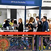 London, UK. 3rd September, 2018. Fei Liu Fine Jewellery exhibition at the International Jewellery London 2018, Olympia London, UK.