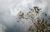 MACHU PICCHU, PERU - CIRCA OCTOBER 2015:  Fog rolling over Machu Picchu in Peru,
