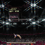 Alexandra Raisman, USA, in action during the Women's Gymnastics Apparatus Beam final at North Greenwich Arena during the London 2012 Olympic games London, UK. 7th August 2012. Photo Tim Clayton