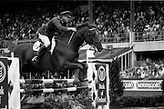 "07/08/1987<br /> 08/07/1987<br /> 07 August 1987<br /> Bank of Irelands Nations Cup for the Aga Khan tophy competition. Commandant Gerry Mullins (Ireland) on ""Rockbarton""."