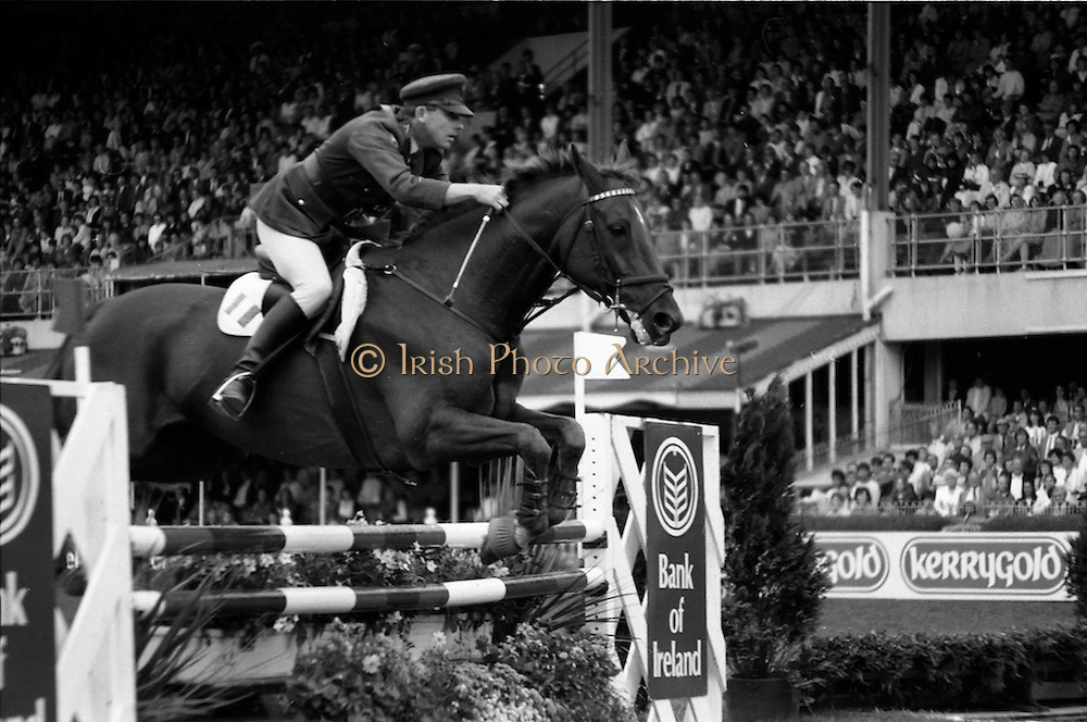 """07/08/1987<br /> 08/07/1987<br /> 07 August 1987<br /> Bank of Irelands Nations Cup for the Aga Khan tophy competition. Commandant Gerry Mullins (Ireland) on """"Rockbarton""""."""