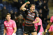 Mark Bennett celebrates 34-33 win in the European Rugby Challenge Cup match between Edinburgh Rugby and Stade Francais at Murrayfield Stadium, Edinburgh, Scotland on 12 January 2018. Photo by Kevin Murray.