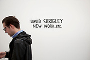 David Shrigley. New work etc. Visitors and exhibitors at the many galleries exhibiting at the Frieze Art Fair 2010. This art fair is for work at the high end of international contemporary art with many well known artists on show from many of the world's most reknowned dealers.