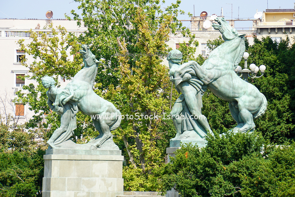 Horse sculpture in front of the National Assembly building, Belgrade, Serbia