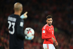 9 October 2017 -  2018 FIFA World Cup Qualifying (Group D) - Wales v Republic of Ireland - Hal Robson-Kanu of Wales looks on at Republic of Ireland goalkeeper Darren Randolph - Photo: Marc Atkins/Offside