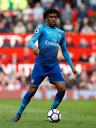 """Arsenal's Alex Iwobi during the Premier League match at Old Trafford, Manchester. PRESS ASSOCIATION Photo. Picture date: Sunday April 29, 2018. See PA story SOCCER Man Utd. Photo credit should read: Martin Rickett/PA Wire. RESTRICTIONS:  EDITORIAL USE ONLY No use with unauthorised audio, video, data, fixture lists, club/league logos or """"live"""" services. Online in-match use limited to 75 images, no video emulation. No use in betting, games or single club/league/player publications."""