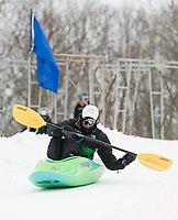 Bill Yacopucci starts down the course during Saturday's Boat Bash Snow Crash event at the Veteran's Memorial Ski Hill in Franklin.  (Karen Bobotas/for the Laconia Daily Sun)